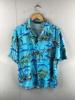 Kings Club Men's Vintage Short Sleeve Hawaiian Shirt Size L Blue