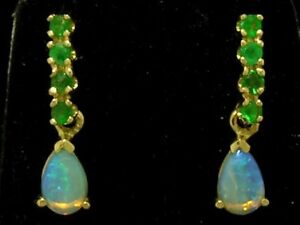 E038 Genuine 9K Solid Yellow Gold NATURAL Emerald & Opal DROP Stud Earrings