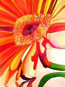 ORIGINAL ART - Orange Gerbera flower watercolour