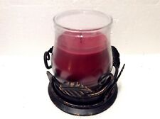 Cinnamon Cider 14oz Tall Candle Jar & Bronze Leaf Holder Longaberger Gift New