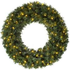 CGC 80cm Extra Large Pre lit LED Green Christmas Wreath Indoor or Outdoor