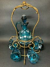 More details for antique late victorian c1910 french liqueur decanter and 5 cordial mugs/cups