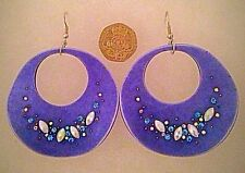 Fashion Trendy Party Jewellery White Clear Stone Light Round Royal Blue Earrings