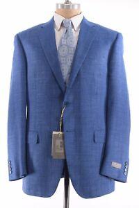 Canali NWT Sport Coat Size 42L Solid Bright Blue Wool Silk Linen $1,695