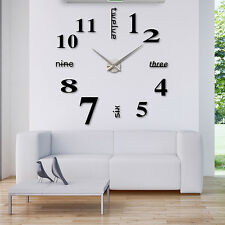3d DIY Modern Large Wall Clock Numbers Letters Stickers Office