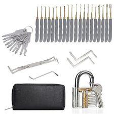 24Pcs Unlocking Lock Pick Set Key Extractor Tool W/ Transparent Practice Padlock