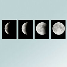 Large Canvas Print Home Decor Wall Art Abstract Changing Moon Black 4PCS Framed
