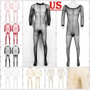 US Men Sheer One-piece Full Bodystocking Penis Sheath Stretchy Pantyhose Tights