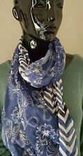 Navy/White Infiniti Scarf with Zigzag,Tassels & Flowers by 2 CHIC. NWT.