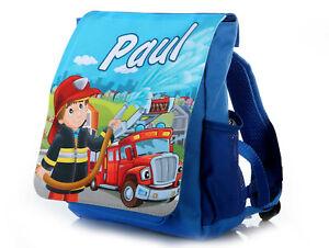 Kinderrucksack mit Name Feuerwehr blau Kindergartenrucksack Kita Tasche Junge