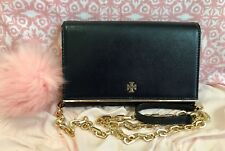 Tory Burch Wallet on Chain Crossbody Clutch Robinson Patent Leather Navy/Gold