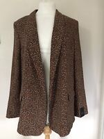 bnwt NEXT JACKET BLAZER UK 14 BROWN WHITE BLACK ANIMAL PRINT FULLY LINED SMART
