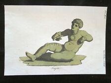 Tagete, Genio, Giove Incisione colorata a mano del 1820 Mitologia Pozzoli