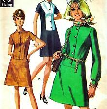 "Vintage 60s Mod DRESS Sewing Pattern Bust 38"" Size 14 RETRO Shirtwaist"
