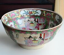 """Vintage Hand Painted Chinese Porcelain Bowl Made In Macau 10"""" Wide 4.75"""" High"""