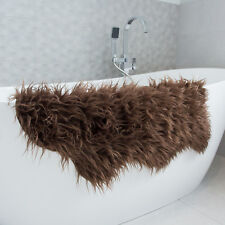 Brown Shaggy Faux Fur Furry Fluffy Sheepskin Soft Living Room Rug 60cm X 90cm
