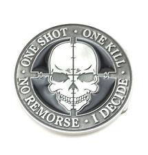 One Shot, One Kill Sniper Skull Metal Fashion Belt Buckle