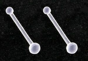Pack of 2x Clear NOSE STUD Retainers - 0.8mm bar - Tiny 2mm Ball - Flexi Acrylic