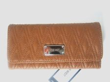 Nine West Womens Trifold Clutch Wallet Tobacco Dotted Shapes SLG New NWT $39