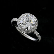 2.60Ct White Round Cut Diamond Halo Engagement Ring in Certified 14k White Gold