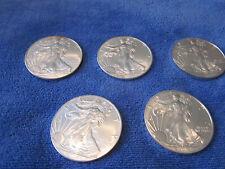 Lot of 5 Silver Eagle 1 oz .999 Fine Silver Coins 2013, 2014, 2015, 2016 & 2017