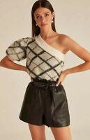 Luxury Designer Classic Chic Cream Victorian Puff Sleeve Summer  Knit Top 8 10
