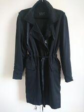 All Saints Aiya Parka Jacket Size UK 12 Black Long Trench Coat Light Lyocell Mac