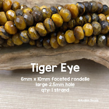 Tiger Eye - LARGE HOLE - 6x10mm - FACETED - Rondelle - 8 Inch Strand - 2.5 Hole