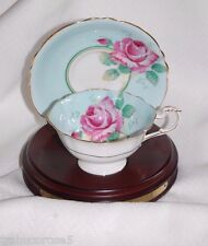 MINT Lovely PARAGON Queen Mary Rose/Light Aqua Cup & Saucer/Gold Scalloped Edge