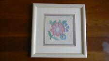 Framed Elsa Williams Wool Needlepoint FLORAL TAPESTRY Baby Nursery 13x13 JCA New