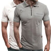 Men's Cotton Lapel Shirts Short Sleeve Summer Solid Casual Tops Fashion Blouse