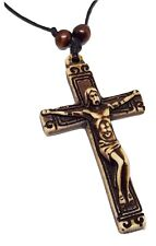 Chunky Crucifix Jesus Pendant Necklace Adjustable Cord Wooden Beads