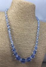 Vintage Art Deco Necklace Glass Faceted Blue czech Clasp beaded Graduated Choker