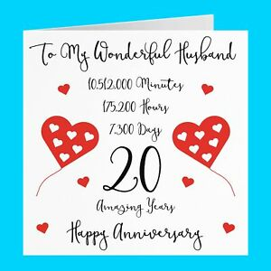 Romantic Husband 20th Wedding Anniversary Card - Timeless Collection