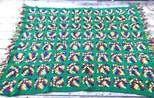 VINTAGE GRANNY SQUARE Afghan Throw Blanket 54x78 yellow orange crochet quilt
