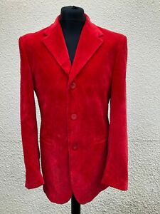 """Rare Genuine Versace Jeans Couture Red Velvet Jacket 36"""" Chest"""