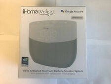 iHome Voice iGV1W Voice Activated Bluetooth Bedside Speaker System - White NEW