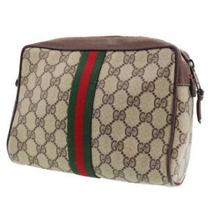 GUCCI GG Plus Web Stripe Clutch Hand Bag Brown PVC Italy Vintage Auth #XX446 Y