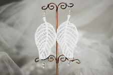 Handmade Vintage Gothic Victorian Lolita White Lace Leaf Dangle/Drop Earrings