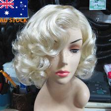 AU Women Short Light Blonde Wavy Curly Hair Cosplay Marilyn Monroe Party Wigs