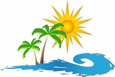 Sunset Palm Tree Wave decal Camper RV motor home mural graphic style B