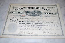 Stock Certificate - HARTFORD AND CONNECTICUT WESTERN RAILROAD – CONNECTICUT 1881