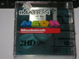 IMATION 2HD Diskettes pack of 10 NEW SEALED Neon for Mac/Macintosh