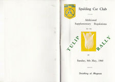 TULIP RALLY SUNDAY 8th MAY 1960, ADDITIONAL SUPPLEMENTRY REGULATIONS BOOKLET.