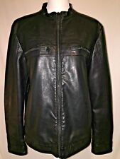 Faux Leather Jacket Black Men's Size Med. Zip Sleeves Excellent Condition Apt. 9