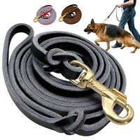 Genuine Braided Leather Dog Lead for Shepherd Training Leash Black Red Brown New