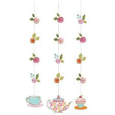 PKT 3 TEA TIME HANGING CUTOUTS PARTY DECORATIONS TEAPOT TEACUP ALICE MAD HATTER