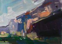 JOSE TRUJILLO Oil Painting Landscape Mountains Modern Art Small 6X8 ORIGINAL