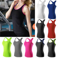 Womens Tank Tops A-Shirt Basic Workout Sports Gym Running Yoga Active Wear Vests