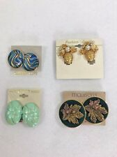 Vintage Lot of Clip on Earrings 4 Pair  Pineapple  Leaves  Retro  Mod Chic